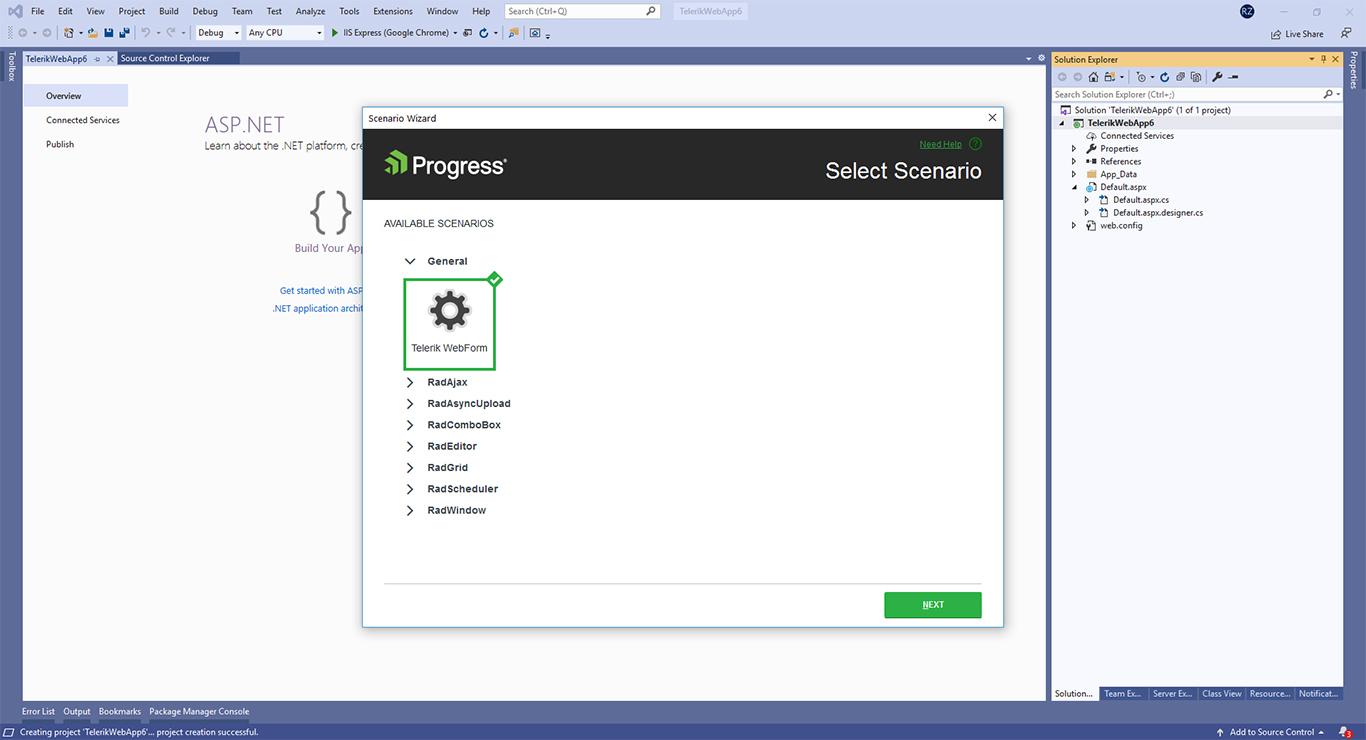 Select scenario page with Telerik ASP.NET AJAX Extensions